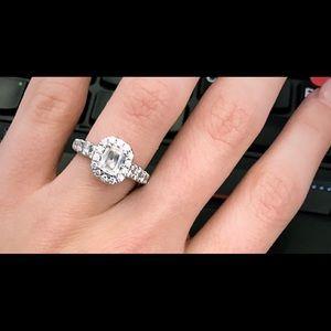 Martin Flyer Cushion Diamond Halo Ring Set